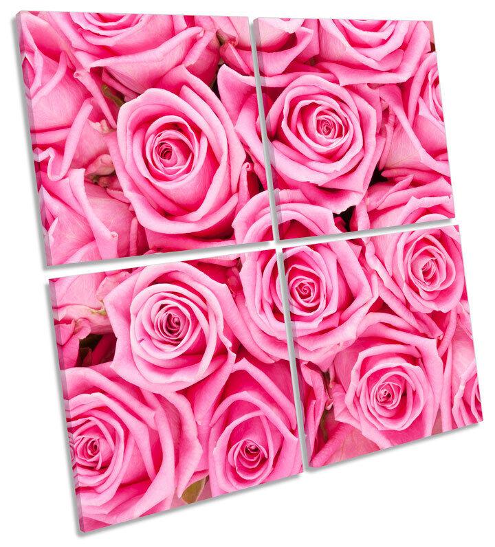 Floreale rosa LOVE FIORI MULTI Tela Tela Tela Wall Art Quadrato foto 3a18ec
