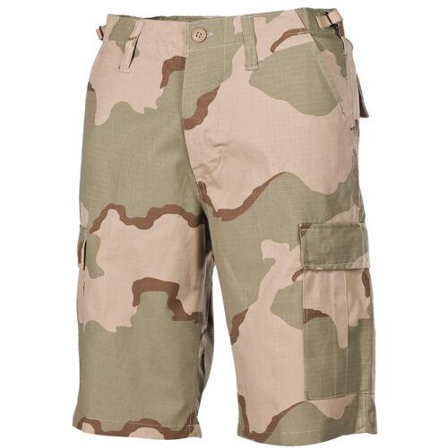 MFH Mens Bermuda US BDU Patrol Cargo Shorts Cotton Ripstop 3-Colour Desert Camo