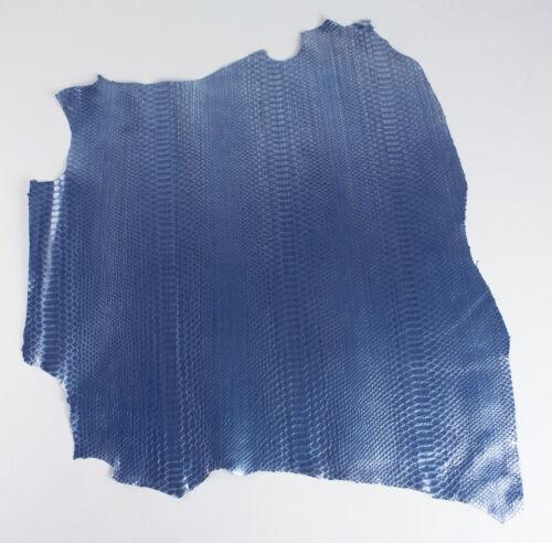 pieles esconde brillante PYTHON GRABADO Azul Italian Leather Hide Piel de cabra