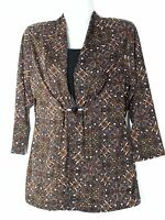 Notations Bejeweled Brown Print Top Small S 6 8