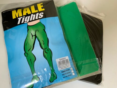 MENS GREEN /& BLACK  MALE TIGHTS HALLOWEEN SIZE ONE SIZE FANCY DRESS