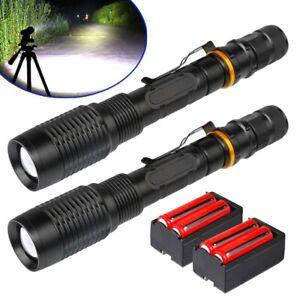 Tactical 350000Lumens 5Modes T6 LED 18650 Flashlight Aluminum Zoom Torch US SET