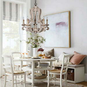 Antique Chandelier Lighting Distressed Wooden Pendant 5 Lights Deco Dining Room Ebay