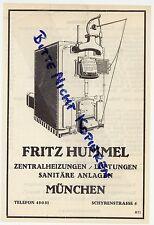 MÜNCHEN, Werbung 1925, Fritz Hummel Zentralheizungen Lüftungen Sanitär