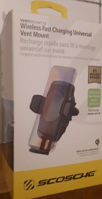 SCOSCHE VQ2M VentMount Qi-Certified Wireless Charging Vent Phone Mount,NEW