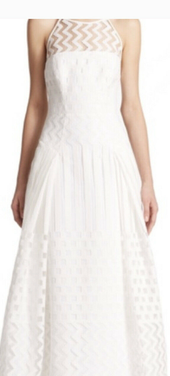 """""""LYLA"""" GOWN By MILLY - White Jacquard Mesh - Size 4 - Formal / Wedding / Bride!"""