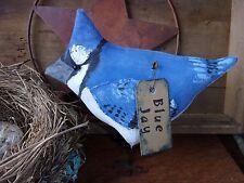 Primitive Fat Lil BLUEJAY Bird for Summer Rustic Folk Art Free Standing Ornie