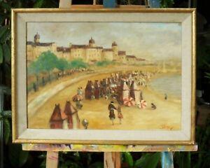 tableau-huile-toile-Scene-de-plage-signee-tiffany