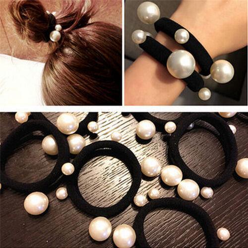 3x Women Pearl HairBand Ties Elastic Rubber Rope Ring Hairband Ponytail HolderTC