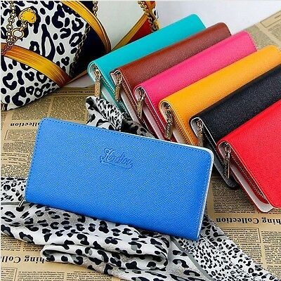 Women Fashion Leather Wallet Zip Around Case Purse Cards Bag Lady Long Handbag