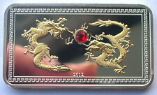 Palau 2012 Year of Dragon 5 Dollars Gold Plated Silver Coin,Proof