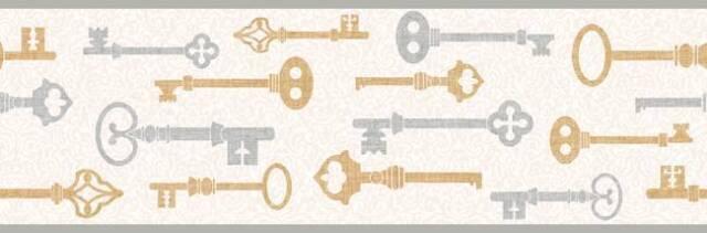 Wallpaper Border Antique Silver and Gold Keys on White on White Mini Damask