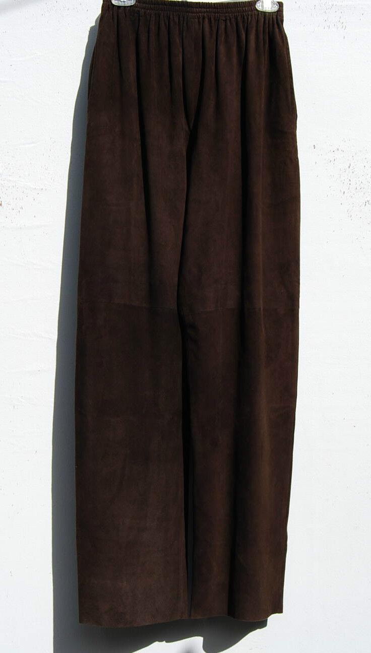 NEW Eskandar DARK BROWN Medium Weight Soft Suede Leather Long Trousers (0)