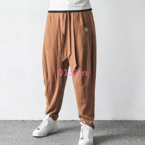 Chinese Ethnic Style Mens Linen Cotton Blend Loose Harem Pants Retro Long Pants