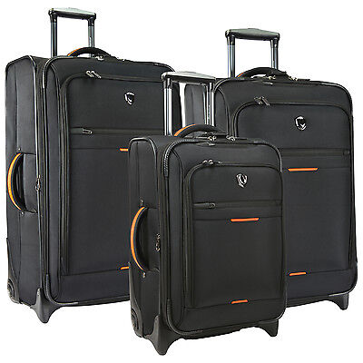 Birmingham Black 3pc Water Resistant Rugged Rolling Luggage Suitcase Travel Set