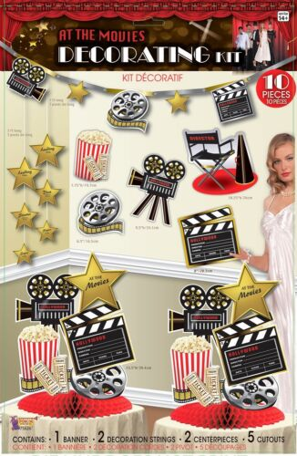 """ AT THE MOVIES "" 10 PC HOLLYWOOD AWARDS OSCARS PARTY DECORATION KIT 31C"