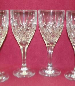 TWO-2-GODINGER-SHANNON-Crystal-DUBLIN-Pattern-7-3-4-034-WINE-GOBLETS