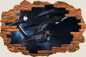 3D-Hole-in-Wall-Fantasy-Star-Trek-Space-Ship-View-Wall-Stickers-Decal-Mural-861