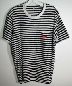 Uniqlo Pieter Ceizer Black & Cream Striped Ciao Rocket Applique T shirt Size M