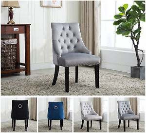Image Is Loading Accent Tufted Velvet Dining Chairs Fabric Studded Upholstered