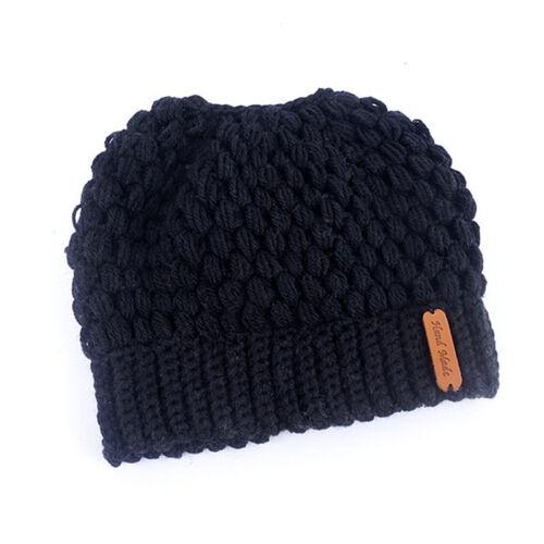 Women Ponytail Beanie Hat Bun Stretch Knitted Cap Warm Hats Winter FashionJMDE