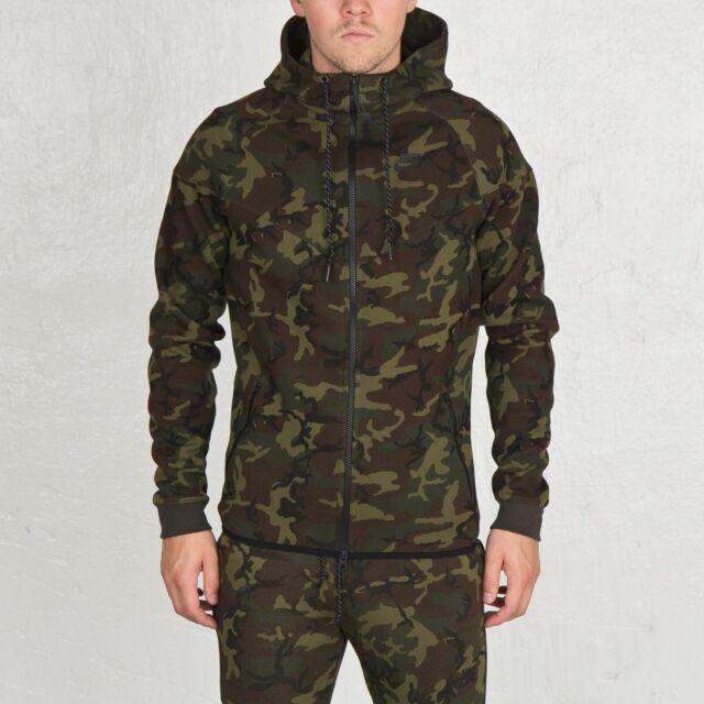 MEN NIKE Tech Fleece Camo Windrunner Hoodie Jacket 694004 355