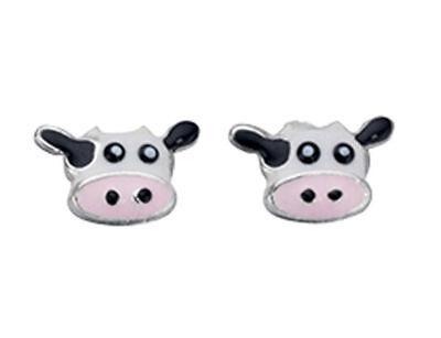 Melchior Jewellery Sterling Silver Cow Head Enamel Studs /& Macaroon Box