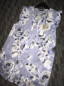 Blue-Floral-Chiffon-Summer-Top-Blouse-New-Size-14-Roman