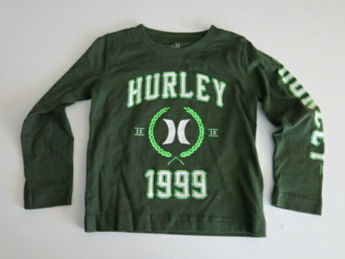 Hurley Toddler Boys 4T Long Sleeve TShirt Tee Carbon Green 100% Cotton NWT