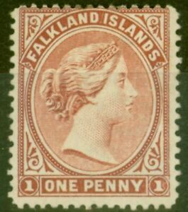 Falkland-Islands-1891-1d-Orange-Rouge-Brun-SG18-Fin-MTD-Excellent-Etat