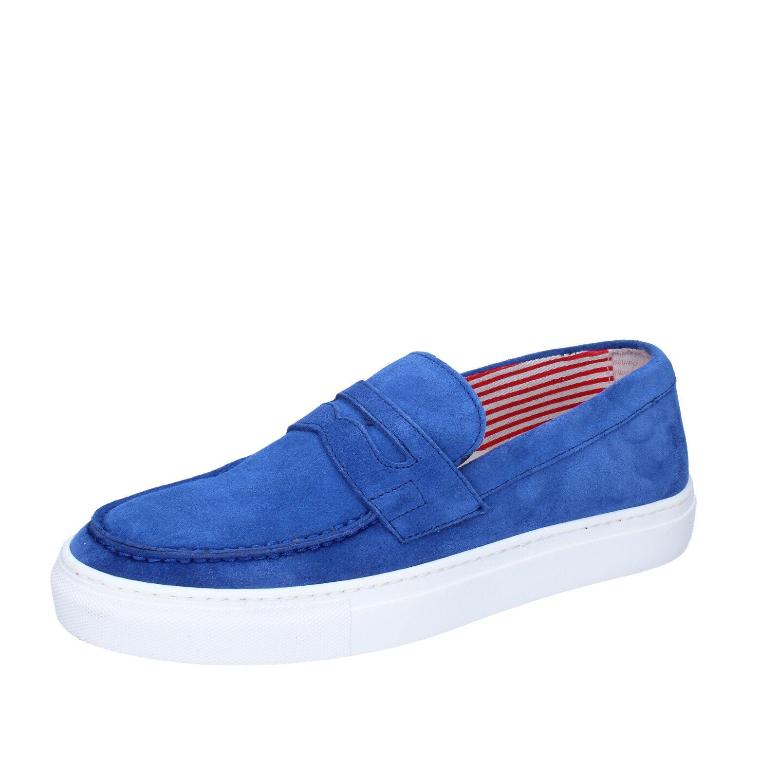 men's shoes DI MELLA 9 () loafers blue suede AB995-D