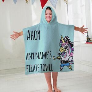 Kids-Personalised-Hooded-Towel-Poncho-Pirate-Unicorn-Childrens-Bathrobe-Swim