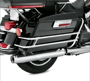 Chrome-SaddleBag-Guard-Rail-Bracket-For-Harley-Touring-FLHR-FLHT-FLHTCUSE-97-08