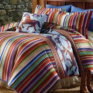 3 Pc Southwestern Wild Free Horses Quilt With Shams Full