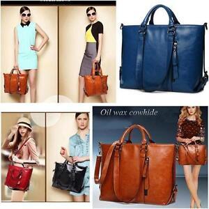 Women Ladies Handbag Shoulder Bag Tote Purse Messenger Oiled Leather Large Bag J