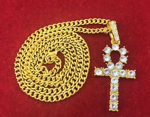 14k Black Gold Egyptian Ankh Loop Cross Pendant Cuban Curb Link Chain Necklace