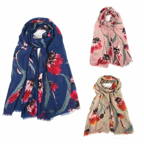 Womens Big Flower Printed shreaded head neck wrap scarf