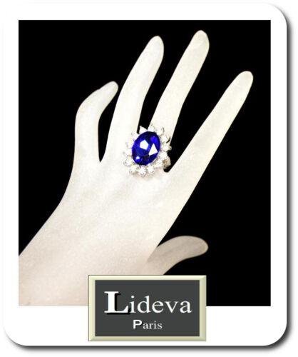Ring Verlobungsring Kristall Strass Damenringe Fingerringe  Blau //Klar