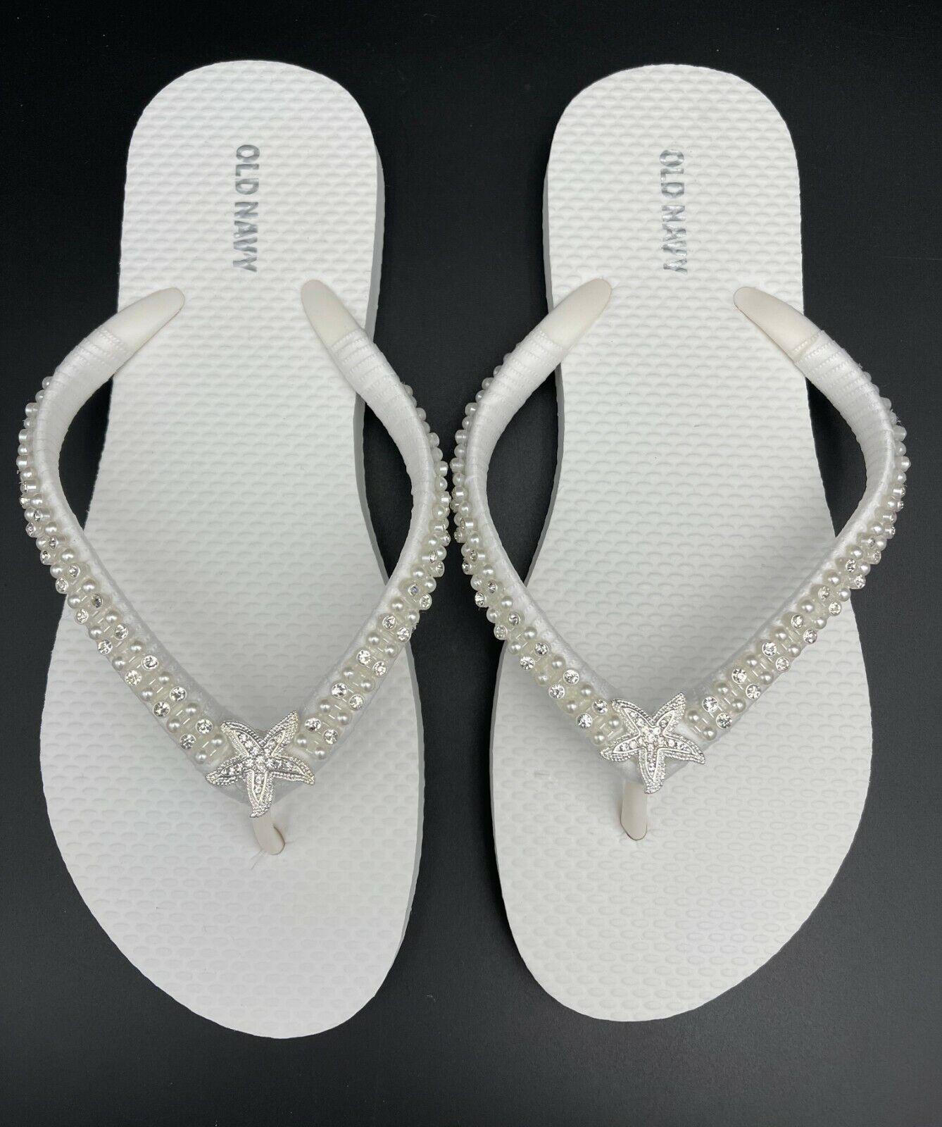 Bridal White Flip Flops Starfish Wedding Flip Flops Beach Flip Flops W SIZE 10
