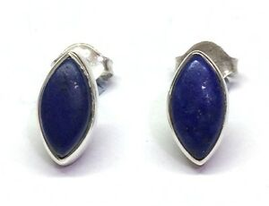 Handmade-925-Sterling-Silver-11mm-x-6mm-Lapis-Lazuli-Marquise-Pip-Stud-Earrings