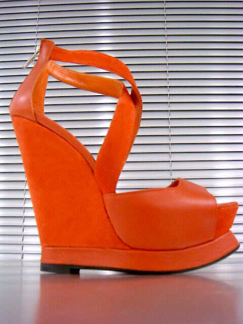 MORI ITALY SANDALS COMPENSÉES HEELS SANDALES SANDALES chaussures LEATHER Orange 41