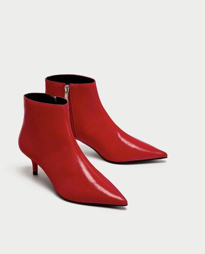 Zara ROT Mid Heel Ankle Stiefel Größe EU 41 EU 8