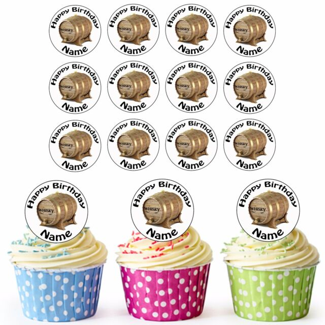 24 Pre Cut Whiskey Barrel Edible Adults Birthday Cupcake Toppers Any Name Age