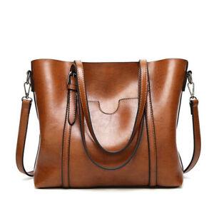 Women Large Retro Handbag Leather Shopping Bag Crossbody Shoulder Tote Satchel