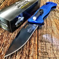 BLUE SPRING ASSISTED OPENING RESCUE FOLDING KNIFE Pocket TACTICAL LED LIGHT-TH