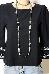 ZARA-Tunika-Gr-XS-kurz-schwarz-Hippie-Folklore-A-Linie-Tunika-mit-Stickereien