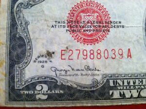 1928 F $2 DOLLAR RED SEAL D72701744A
