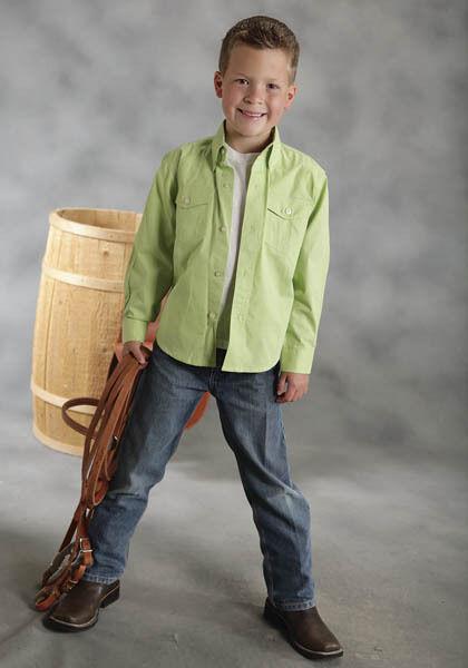 Boys Roper Lime Solid Poplin Barrel Racing Show Rodeo Ranch L S Shirt S M L XL