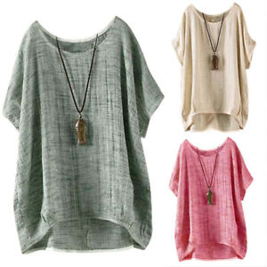 Women-Summer-T-Shirt-Casual-Plain-Loose-Blouse-Shirt-Batwing-Asymmetrical-RASK