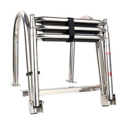 Amarine Made 4 Step Premium Stainless Folding Rear Entry Pontoon Boat Ladder w//Extra Wide Step with led Light